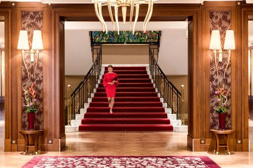 Grand Staircase Lady in Red